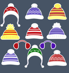 set of eleven stickers of various hats for boys vector image