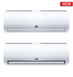 Set of split air conditioner house system vector