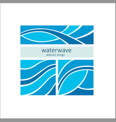set stylized blue waves on a light background vector image