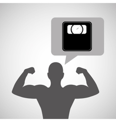 silhouette man bodybuilder weight scale vector image