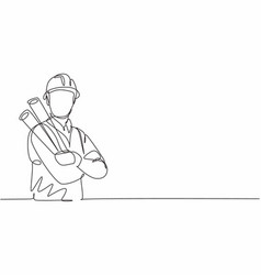 Single one line drawing young male architect vector