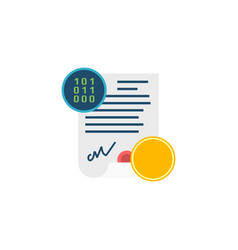 smart contract concept flat icon vector image