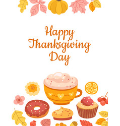 thanksgiving day card template colorful autumn vector image