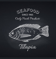 tilapia hand drawn icon badge vector image