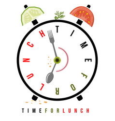 time for lunch healthy food on breakfast alarm at vector image