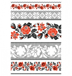 Ukrainian embroidery ornament with roses vector image