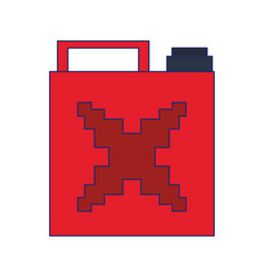 Videogame pixelated fuel can isolated symbol blue vector