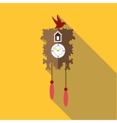 Wall cuckoo clock icon flat style vector