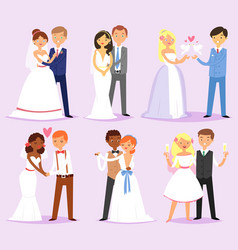 Wedding couple married bride or fiancee and vector