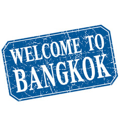 Welcome to bangkok blue square grunge stamp vector