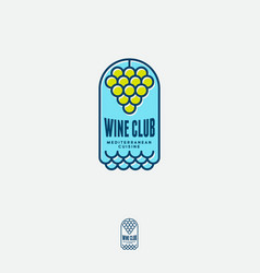 wine house logo concept restaurant bunch grapes wa vector image