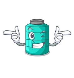 Wink plastic cartoon water tank in the outdoors vector