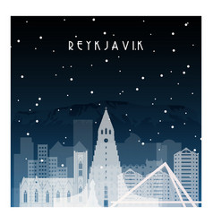 Winter night in reykjavik night city vector