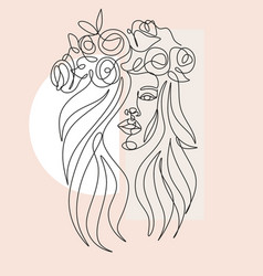 Woman line drawing line art flower head image vector
