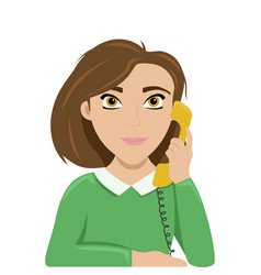 woman talking on phone work talk retro phone vector image