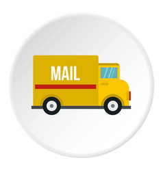 yellow mail truck icon circle vector image