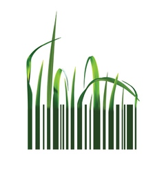 Barcode with green grass vector image