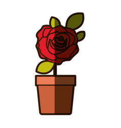 colorful shading drawing flowered red rose with vector image vector image
