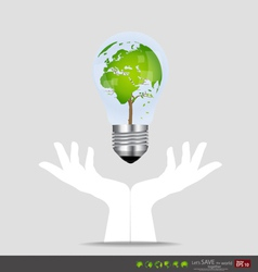 Hand holding an electric light bulb with tree vector image