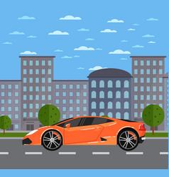 Luxury sports car in urban landscape vector