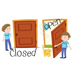 Man by closed and opened door vector image vector image