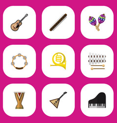 set of 9 editable melody flat icons includes vector image