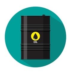 Black metal oil barrel with logo icon vector