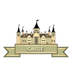 castle building sign travel landmark label fairy vector image vector image