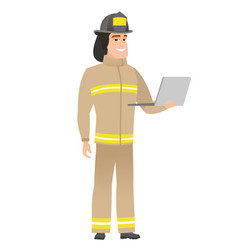 firefighter using laptop vector image