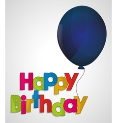 Happy birthday ed letter blue balloon vector