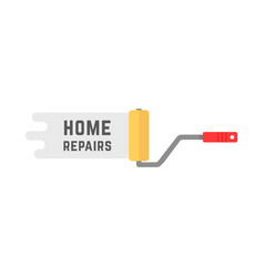 home repairs logo with roller vector image