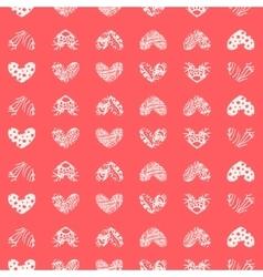 Ink zentangle heart seamless pattern vector image vector image