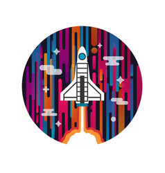 rocket on space vector image vector image