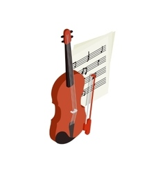 Violin with fiddlestick icon isometric 3d style vector image vector image