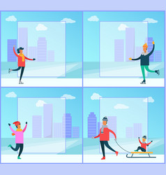 winter in city posters set vector image vector image