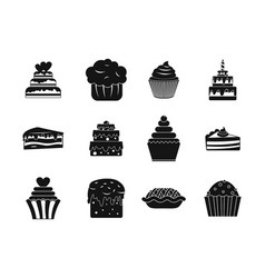 cake icon set simple style vector image