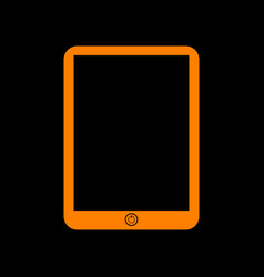 computer tablet sign orange icon on black vector image