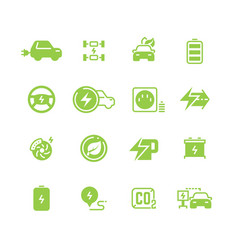 electrical charge symbols and electric car eco vector image vector image