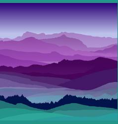 flat night landscape beautiful hills vector image