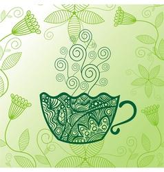 Green tea pattern background vector image vector image