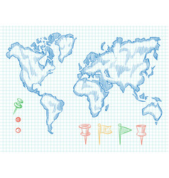 hand drawn world map and colorful doodle pins vector image vector image