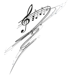 Notes and treble clef vector image vector image