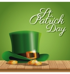 poster st patrick day gold coins hat on wooden vector image