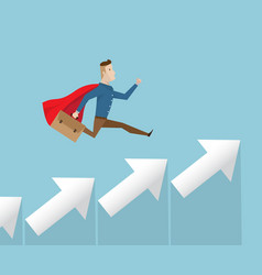 businessman in red cape running on arrow stairs vector image vector image