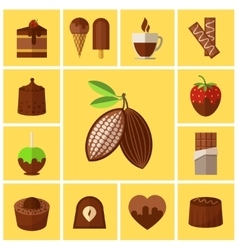 Chocolate sweets cakes and cocoa bean flat icons vector image vector image