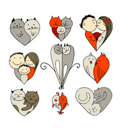 couples set of sketches for your design vector image vector image