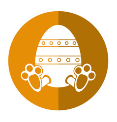 Easter egg with bunny paw shadow vector