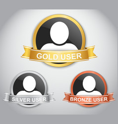 Icons of users with different rank vector image