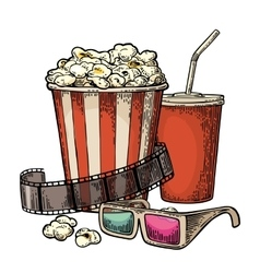 Popcorn cup for beverages with straw film strip vector image