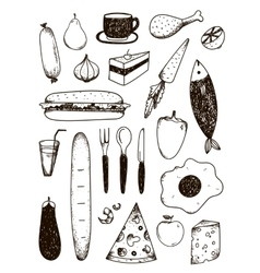 set of hand drawn doodle black and white vector image vector image